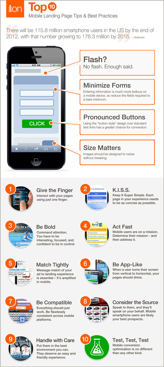 Tips to improve mobile landing pages
