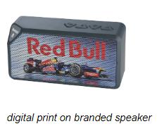 digital print on branded speaker