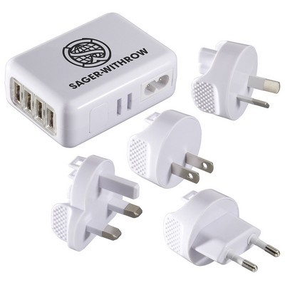 Custom Imprinted USB World Travel Adapter