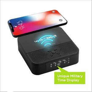 3-In-1 Wireless Charger And Bluetooth Speaker With Dual Alarm Clock (24H mode)