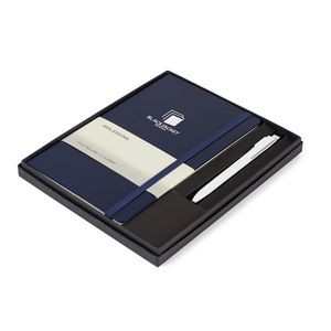 Moleskine® Large Notebook and GO Pen Gift Set - Navy Blue
