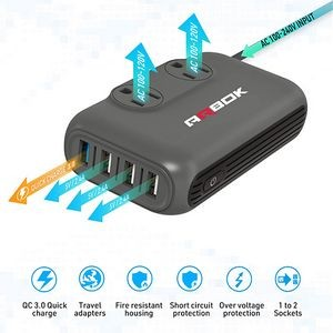 International Voltage Converter With Universal Travel Adapter 2 Outlet, 4 Port USB Charger QC3.0